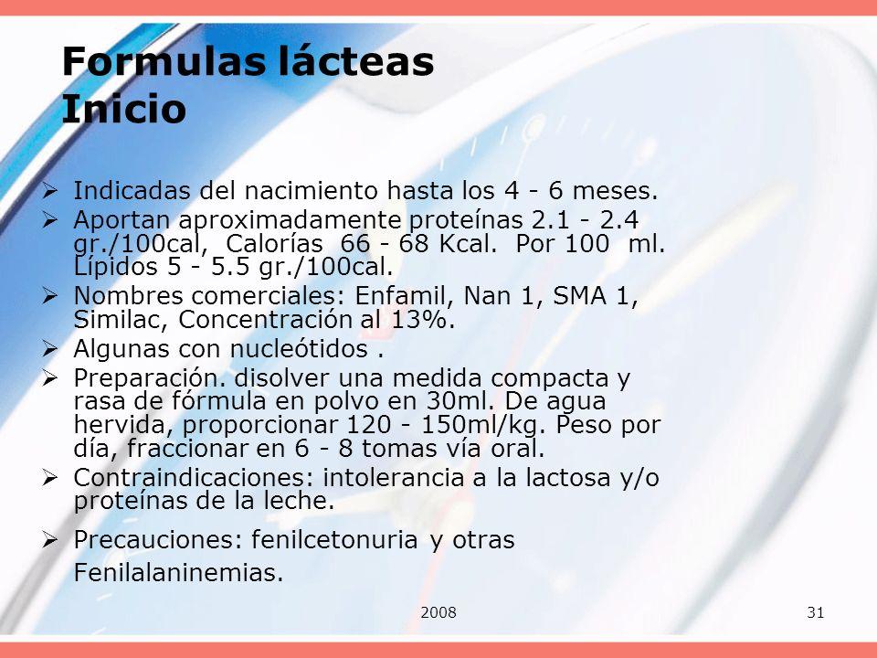 200831 Formulas lácteas Inicio Indicadas del nacimiento hasta los 4 - 6 meses. Aportan aproximadamente proteínas 2.1 - 2.4 gr./100cal, Calorías 66 - 6