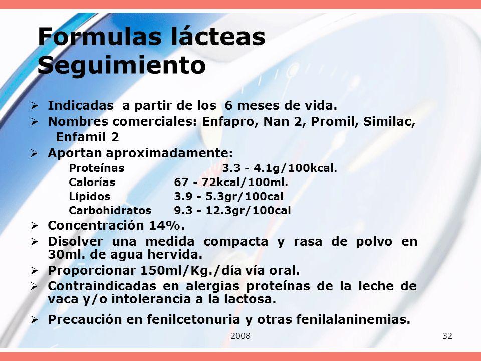 200832 Formulas lácteas Seguimiento Indicadas a partir de los 6 meses de vida. Nombres comerciales: Enfapro, Nan 2, Promil, Similac, Enfamil 2 Aportan