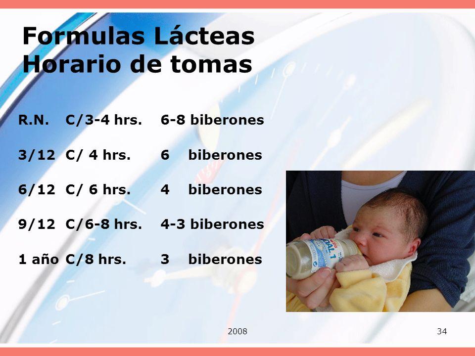 200834 Formulas Lácteas Horario de tomas R.N.C/3-4 hrs. 6-8 biberones 3/12C/ 4 hrs.6 biberones 6/12C/ 6 hrs.4 biberones 9/12C/6-8 hrs. 4-3 biberones 1
