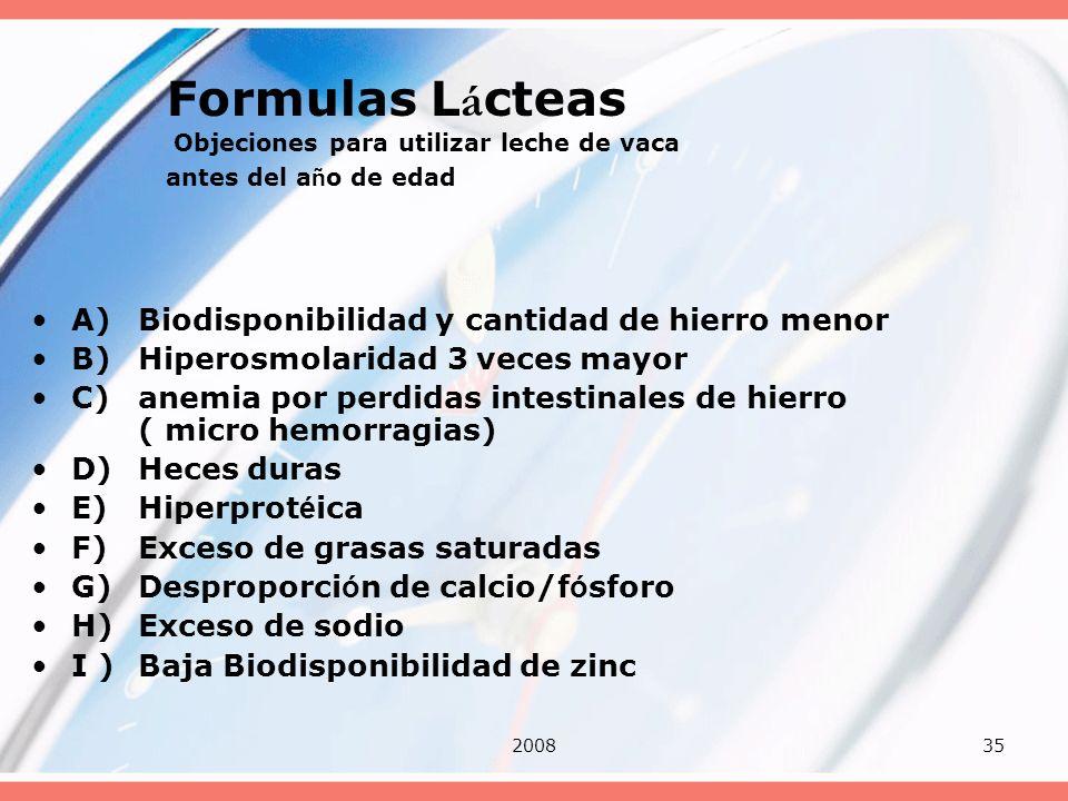 200835 Formulas L á cteas Objeciones para utilizar leche de vaca antes del a ñ o de edad A)Biodisponibilidad y cantidad de hierro menor B)Hiperosmolar