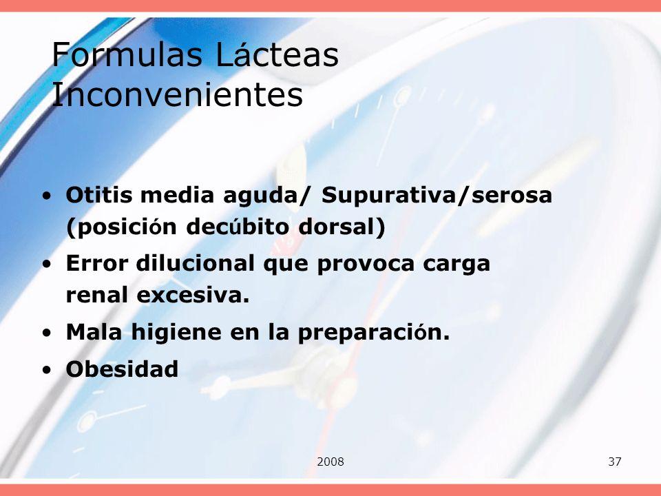 200837 Formulas L á cteas Inconvenientes Otitis media aguda/ Supurativa/serosa (posici ó n dec ú bito dorsal) Error dilucional que provoca carga renal