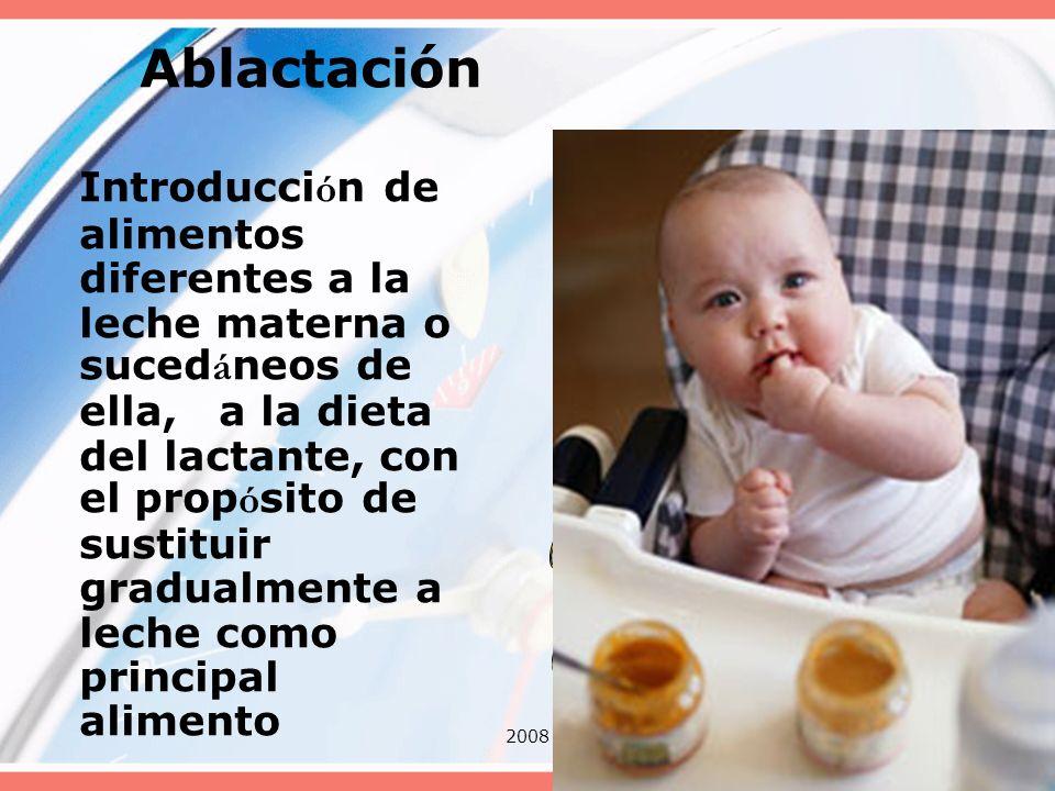 200838 Ablactación Introducci ó n de alimentos diferentes a la leche materna o suced á neos de ella, a la dieta del lactante, con el prop ó sito de su