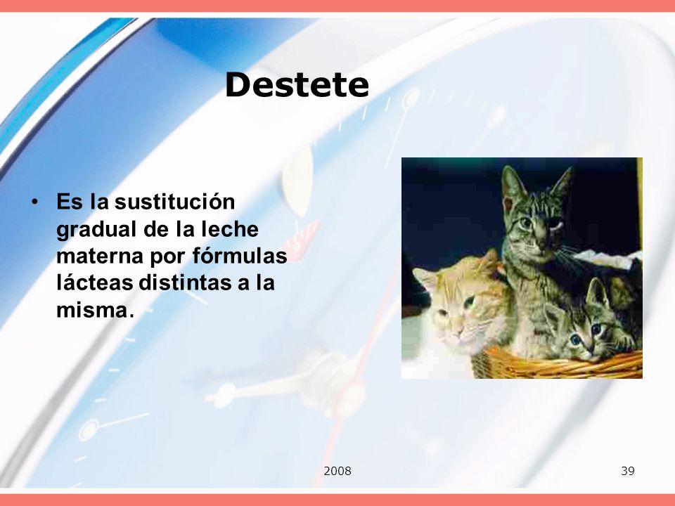 200839 Destete Es la sustitución gradual de la leche materna por fórmulas lácteas distintas a la misma.