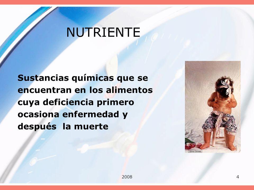 20084 NUTRIENTE Sustancias químicas que se encuentran en los alimentos cuya deficiencia primero ocasiona enfermedad y después la muerte