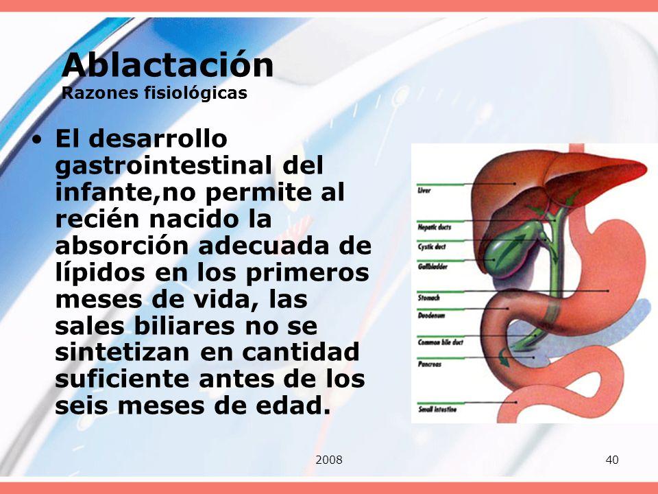 200840 Ablactación Razones fisiológicas El desarrollo gastrointestinal del infante,no permite al recién nacido la absorción adecuada de lípidos en los