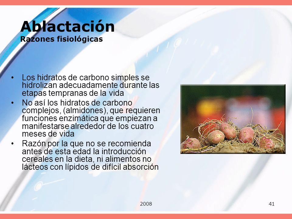 200841 Ablactación Razones fisiológicas Los hidratos de carbono simples se hidrolizan adecuadamente durante las etapas tempranas de la vida No así los