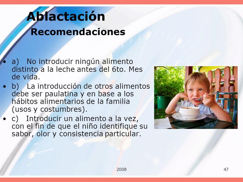 200847 Ablactación Recomendaciones a) No introducir ningún alimento distinto a la leche antes del 6to. Mes de vida. b) La introducción de otros alimen