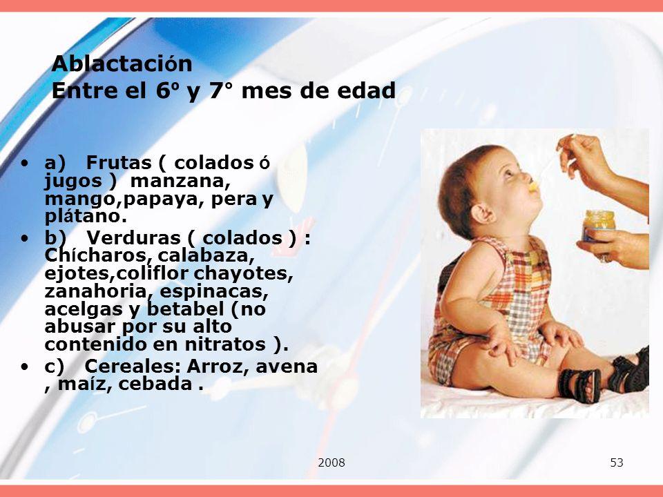 200853 Ablactaci ó n Entre el 6 º y 7° mes de edad a) Frutas ( colados ó jugos ) manzana, mango,papaya, pera y pl á tano. b) Verduras ( colados ) : Ch