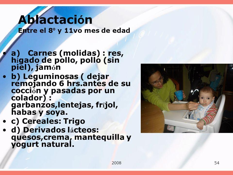 200854 Ablactaci ó n Entre el 8 º y 11vo mes de edad a) Carnes (molidas) : res, h í gado de pollo, pollo (sin piel), jam ó n b) Leguminosas ( dejar re