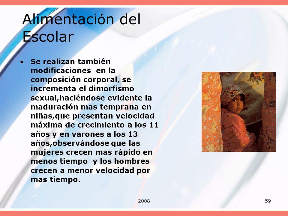 200859 Alimentaci ó n del Escolar Se realizan también modificaciones en la composición corporal, se incrementa el dimorfismo sexual,haciéndose evident
