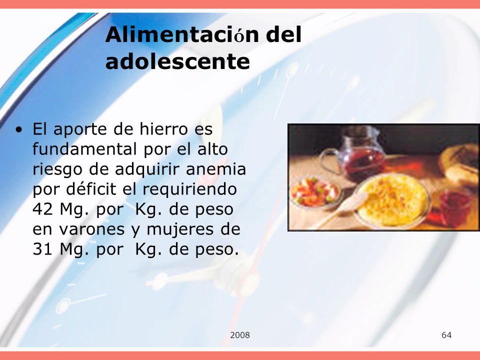 200864 Alimentaci ó n del adolescente El aporte de hierro es fundamental por el alto riesgo de adquirir anemia por déficit el requiriendo 42 Mg. por K
