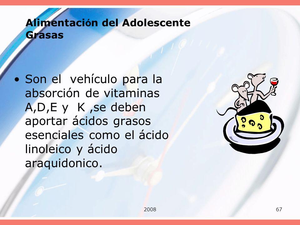 200867 Alimentaci ó n del Adolescente Grasas Son el vehículo para la absorción de vitaminas A,D,E y K,se deben aportar ácidos grasos esenciales como e