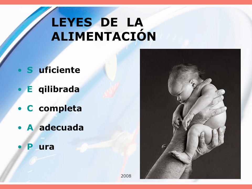 20087 LEYES DE LA ALIMENTACIÓN S uficiente E qilibrada C completa A adecuada P ura
