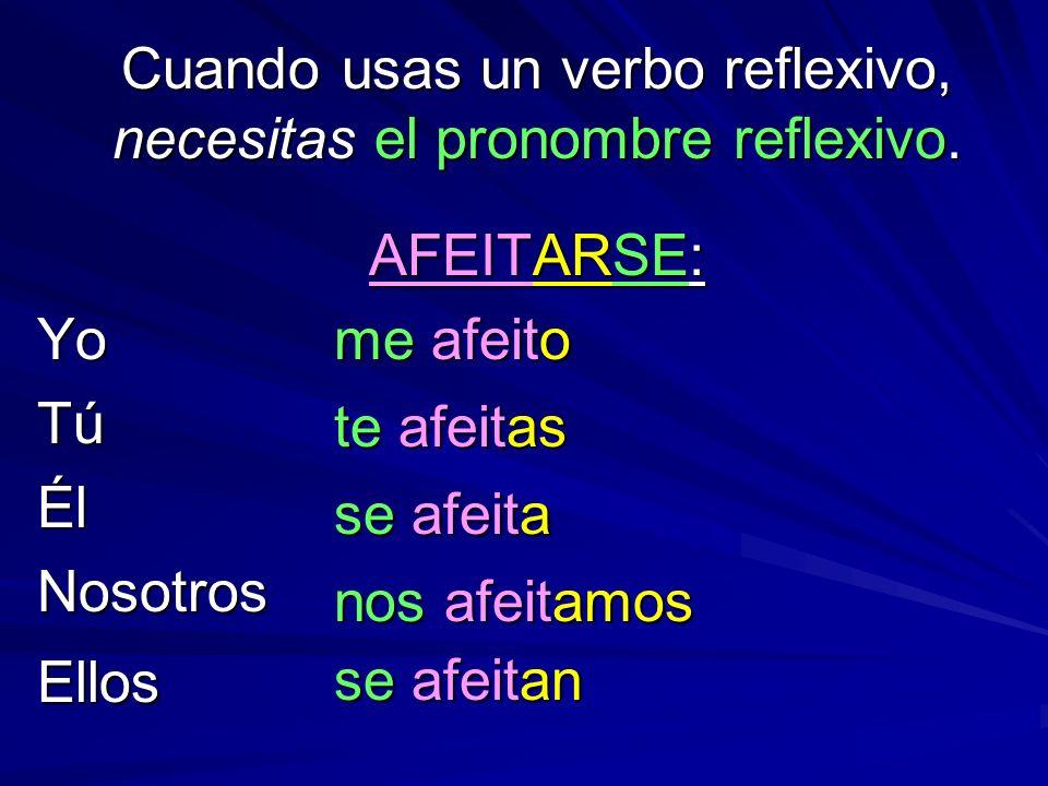 Cuando usas un verbo reflexivo, necesitas el pronombre reflexivo. AFEITARSE: YoTúÉlNosotrosEllos me afeito te afeitas se afeita nos afeitamos se afeit