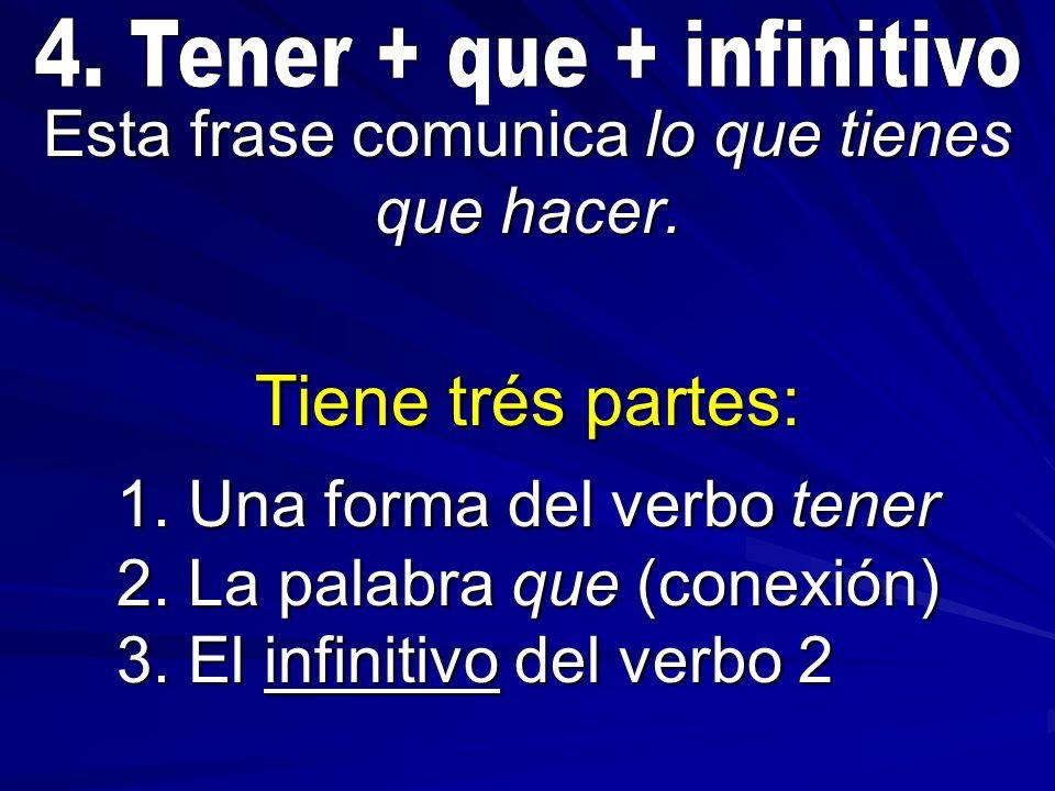 Esta frase comunica lo que tienes que hacer. Tiene trés partes: 1. Una forma del verbo tener 2. La palabra que (conexión) 3. El infinitivo del verbo 2