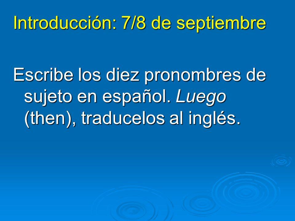 Pronombres de sujeto: SingularPlural yo nosotros túvosotros élellos ellaellas ustedustedes I you (informal) he she you (formal) we they (m) they (f) you all