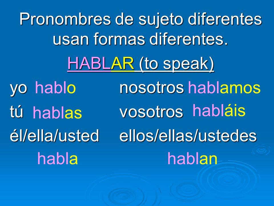 Pronombres de sujeto diferentes usan formas diferentes. HABLAR (to speak) yo nosotros túvosotros él/ella/ustedellos/ellas/ustedes hablo hablas habla h