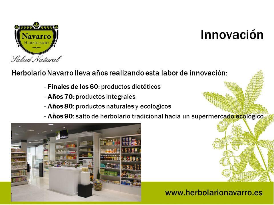 Innovación Herbolario Navarro lleva años realizando esta labor de innovación: - Finales de los 60: productos dietéticos - Años 70: productos integrale