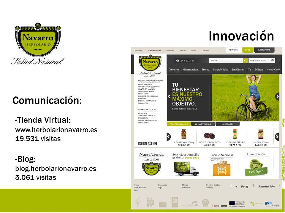 Innovación Comunicación: - Redes Sociales: facebook.com/herbolarionavarro 5.288 fans twitter.com/HNsaludnatural 287 seguidores - Mailing: NewsNavarro 6.989 suscriptores