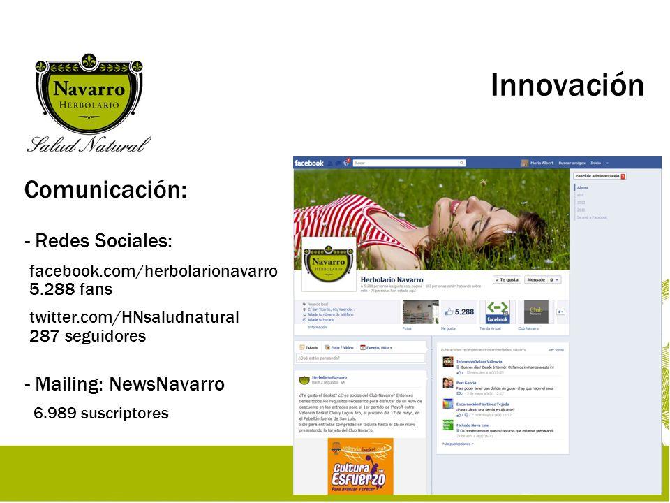Innovación Comunicación: - Redes Sociales: facebook.com/herbolarionavarro 5.288 fans twitter.com/HNsaludnatural 287 seguidores - Mailing: NewsNavarro