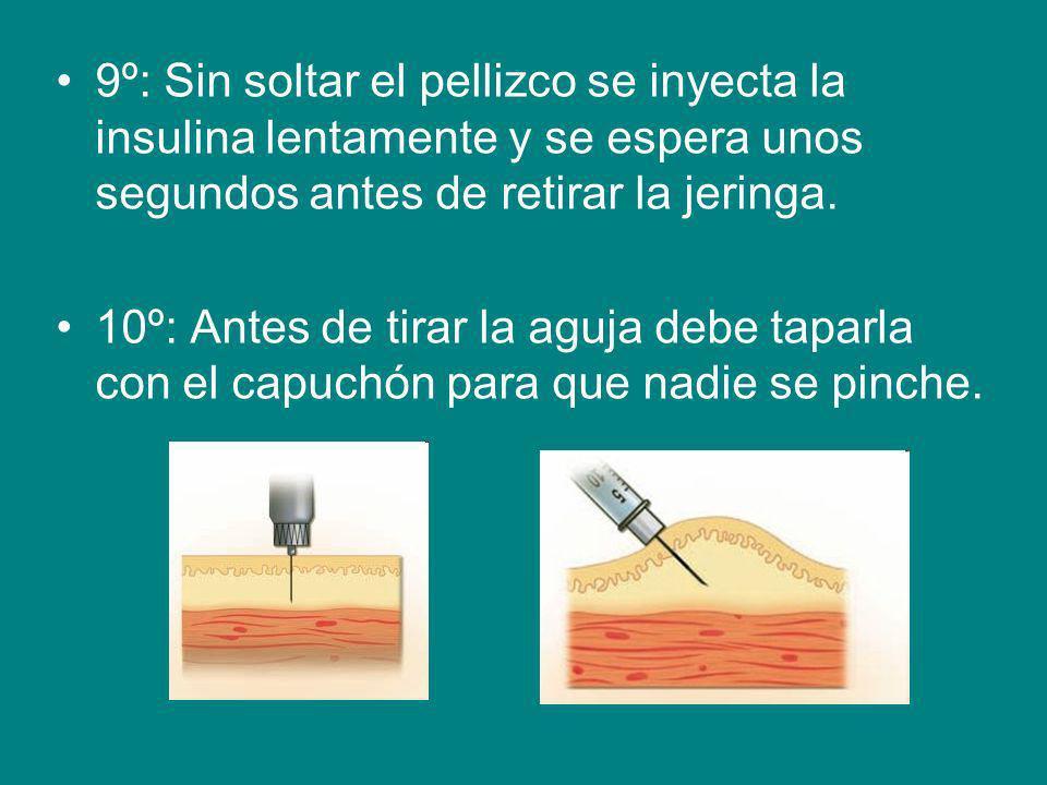 9º: Sin soltar el pellizco se inyecta la insulina lentamente y se espera unos segundos antes de retirar la jeringa. 10º: Antes de tirar la aguja debe