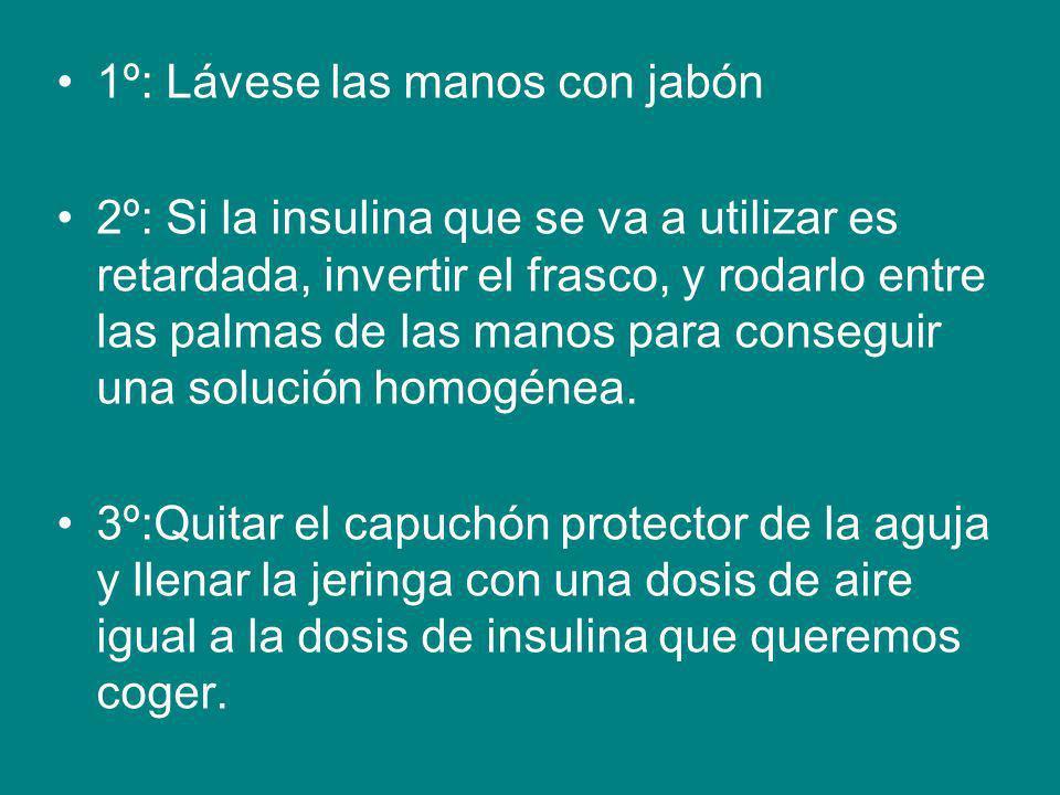 1º: Lávese las manos con jabón 2º: Si la insulina que se va a utilizar es retardada, invertir el frasco, y rodarlo entre las palmas de las manos para