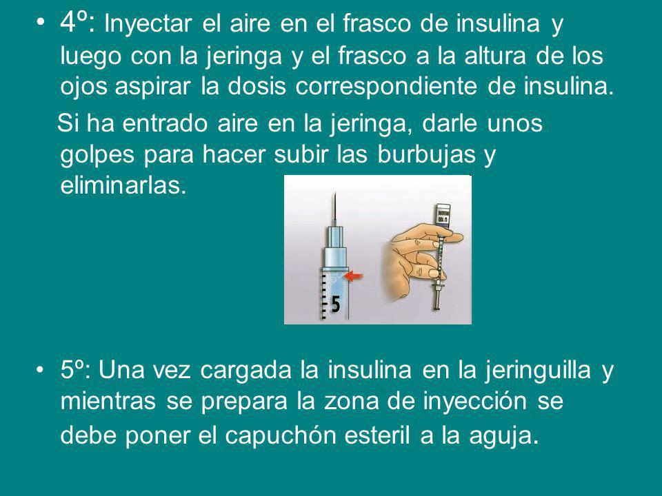 4º: Inyectar el aire en el frasco de insulina y luego con la jeringa y el frasco a la altura de los ojos aspirar la dosis correspondiente de insulina.
