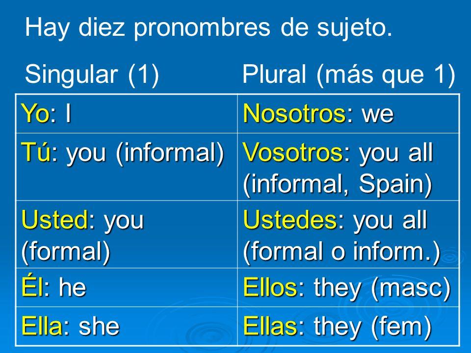 Hay diez pronombres de sujeto. Yo: I Nosotros: we Tú: you (informal) Vosotros: you all (informal, Spain) Usted: you (formal) Ustedes: you all (formal