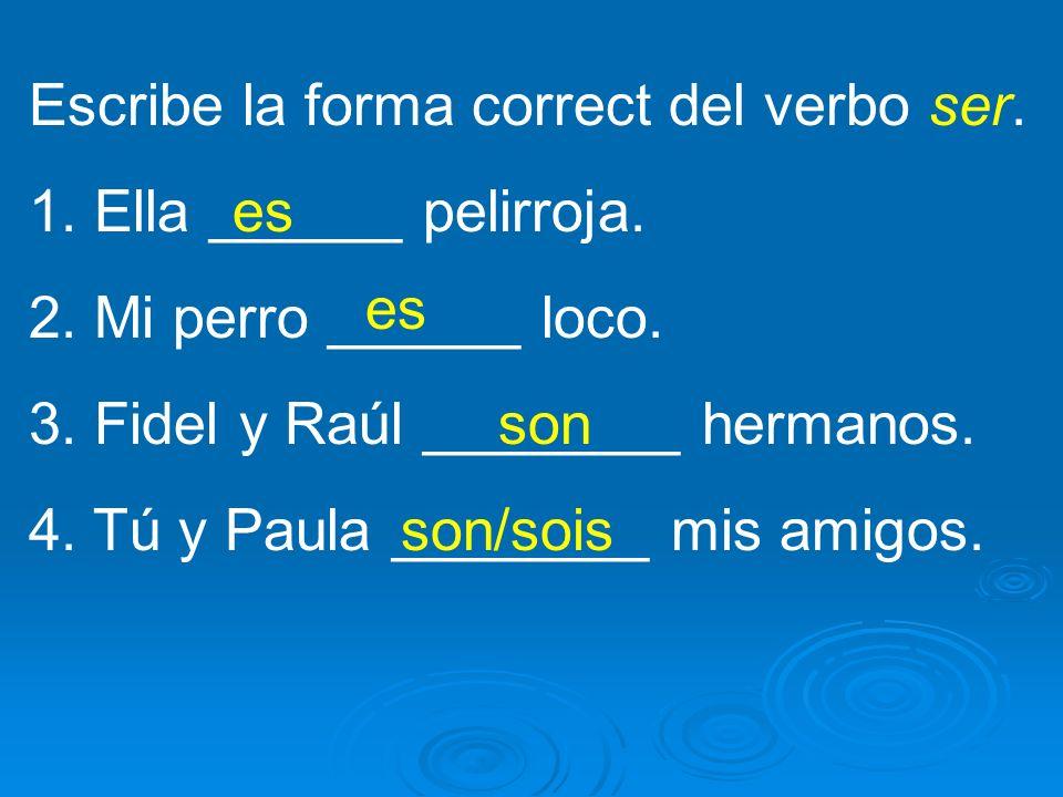Escribe la forma correct del verbo ser. 1. Ella ______ pelirroja. 2. Mi perro ______ loco. 3. Fidel y Raúl ________ hermanos. 4. Tú y Paula ________ m