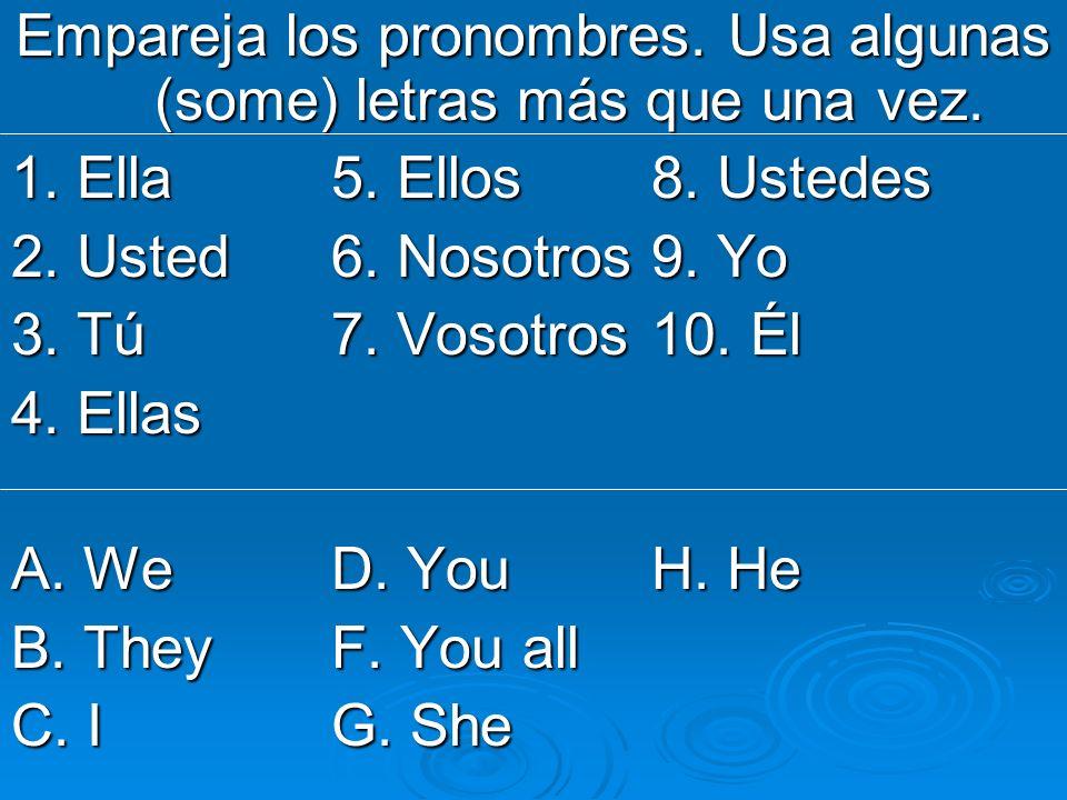Escribe las seis formas del verbo SER.11. Yo ______ 14.