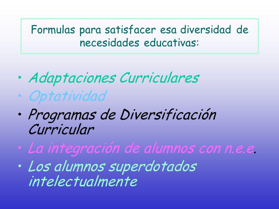 Formulas para satisfacer esa diversidad de necesidades educativas: Adaptaciones Curriculares Optatividad Programas de Diversificación Curricular La in