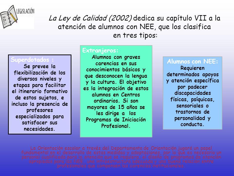 La Ley de Calidad (2002) dedica su capítulo VII a la atención de alumnos con NEE, que los clasifica en tres tipos: La Orientación escolar a través del