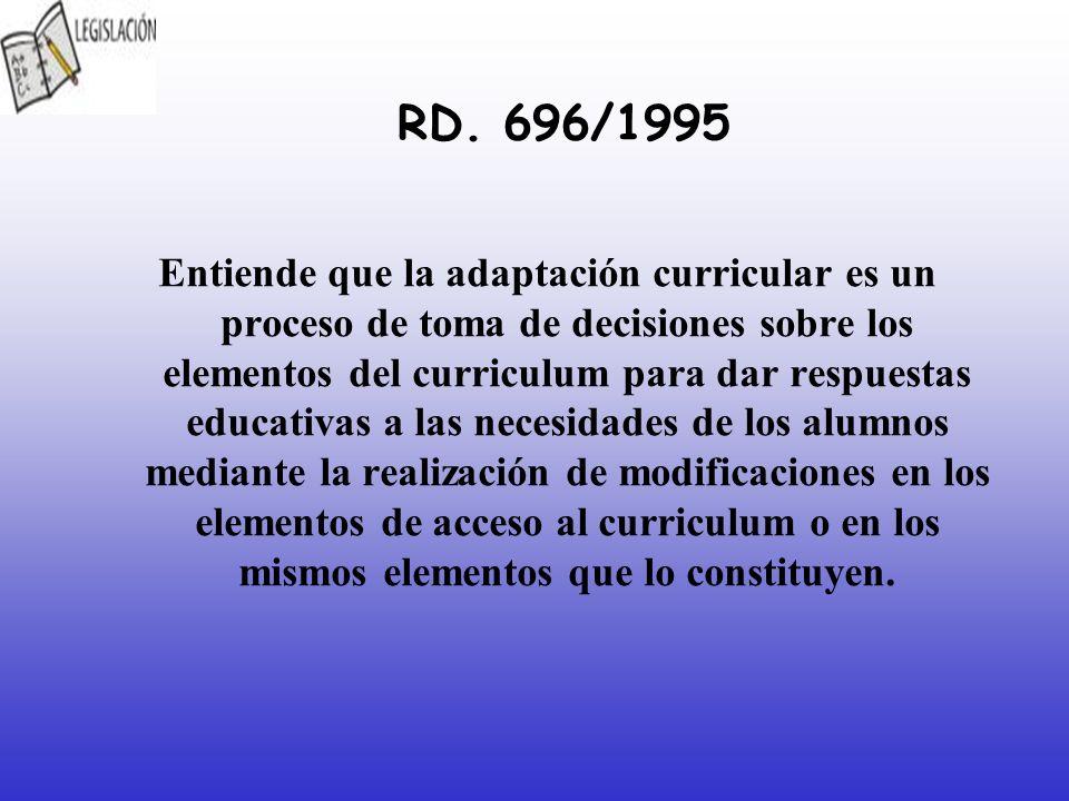 RD. 696/1995 Entiende que la adaptación curricular es un proceso de toma de decisiones sobre los elementos del curriculum para dar respuestas educativ