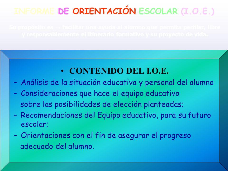 INFORME DE ORIENTACIÓN ESCOLAR (I.O.E.) CONTENIDO DEL I.O.E. –Análisis de la situación educativa y personal del alumno –Consideraciones que hace el eq