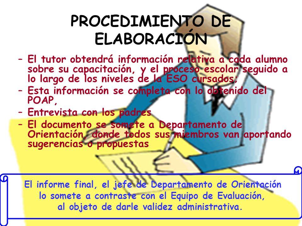 PROCEDIMIENTO DE ELABORACIÓN –El tutor obtendrá información relativa a cada alumno sobre su capacitación, y el proceso escolar seguido a lo largo de l
