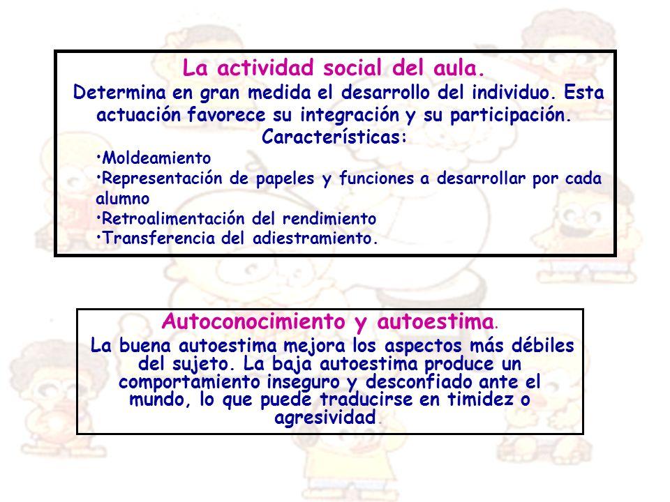 La actividad social del aula. Determina en gran medida el desarrollo del individuo. Esta actuación favorece su integración y su participación. Caracte