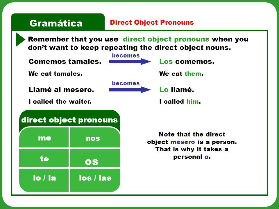 Gramática Shortcut for finding the DO.