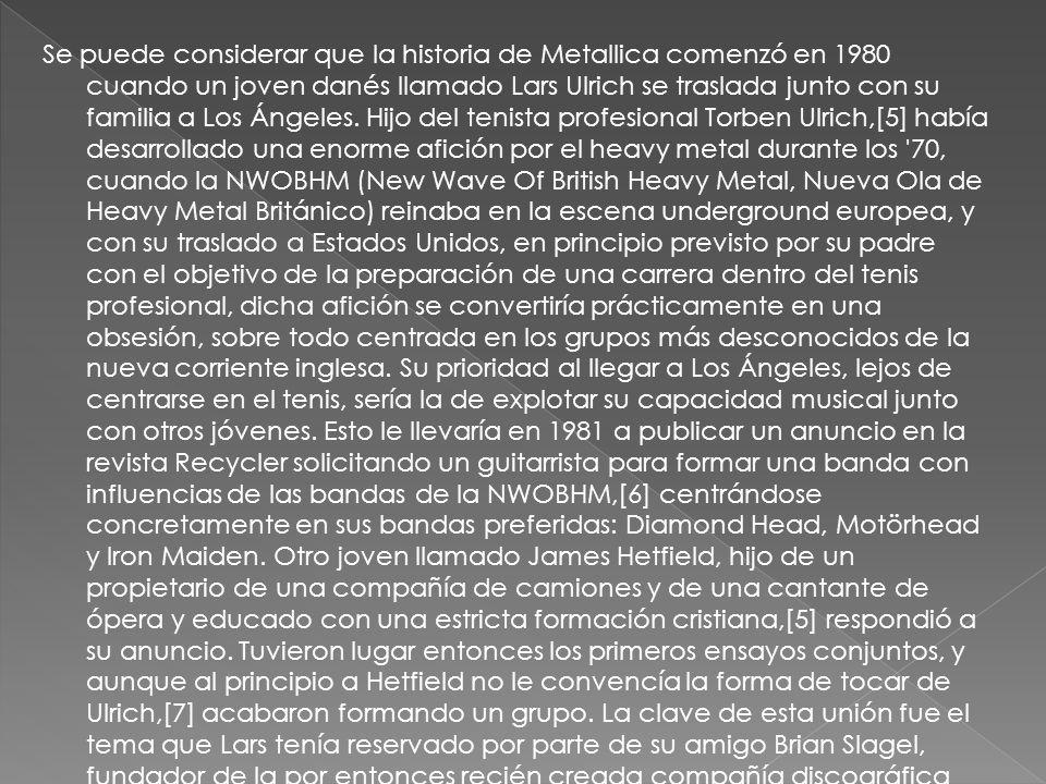 Formación definitiva de la banda Con la edición de Metal Massacre en el mes de julio de 1982, el grupo, tras renegar de la versión de «Hit the Lights» aparecida en el mismo por encontrarse completamente desfasada de lo que constituía su nuevo sonido, decidió grabar su primer demo, titulado No Life til Leather probablemente en una alusión al álbum de Motörhead No Sleep til Hammersmith.