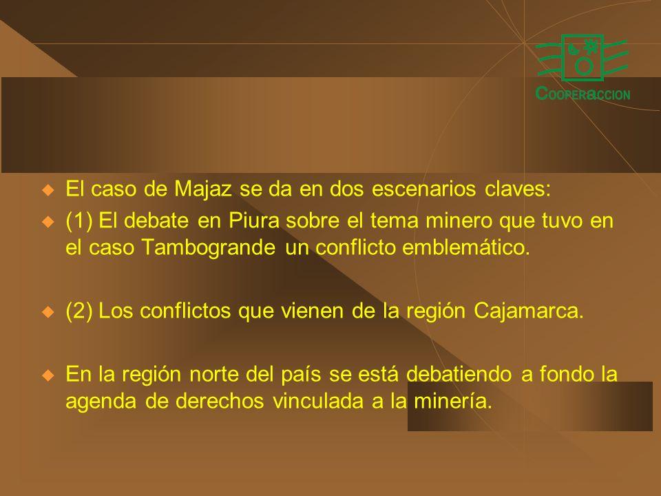 El caso de Majaz se da en dos escenarios claves: (1) El debate en Piura sobre el tema minero que tuvo en el caso Tambogrande un conflicto emblemático.