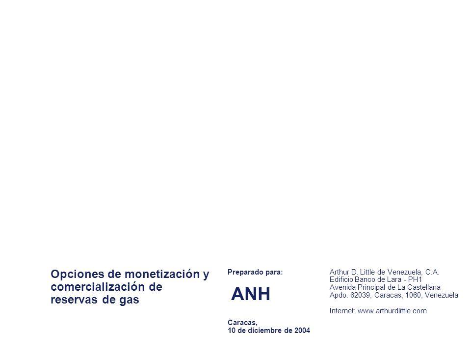 Opciones de monetización y comercialización de reservas de gas Preparado para: ANH Caracas, 10 de diciembre de 2004 Arthur D.