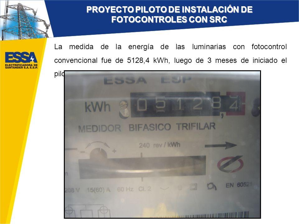 La medida de la energía de las luminarias con fotocontrol convencional fue de 5128,4 kWh, luego de 3 meses de iniciado el piloto. PROYECTO PILOTO DE I