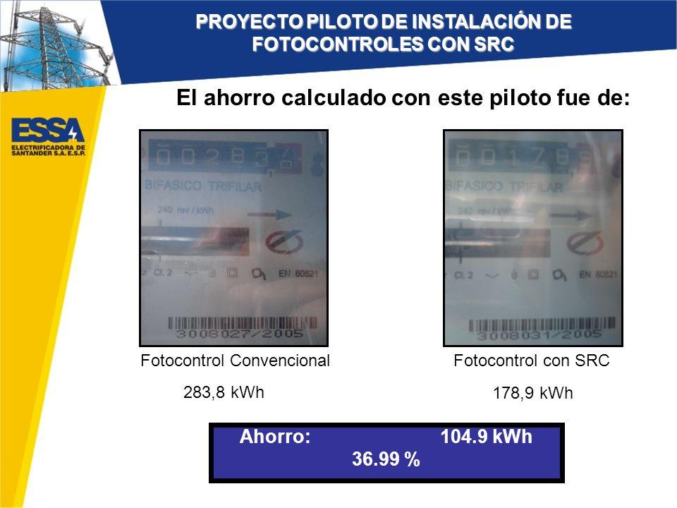 La medida de la energía de las luminarias con fotocontrol convencional fue de 757,6 kWh, luego de 11 días de iniciado el piloto.