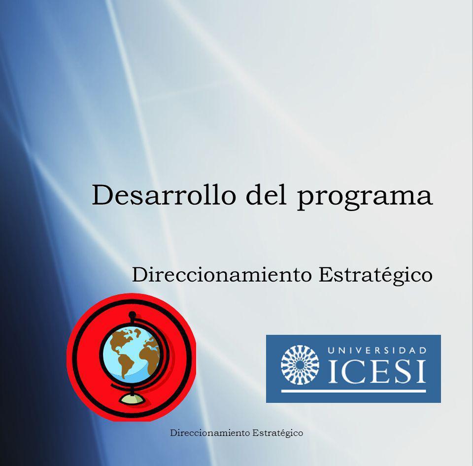 Desarrollo del programa Direccionamiento Estratégico