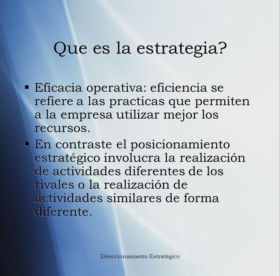 Que es la estrategia? Eficacia operativa: eficiencia se refiere a las practicas que permiten a la empresa utilizar mejor los recursos. En contraste el
