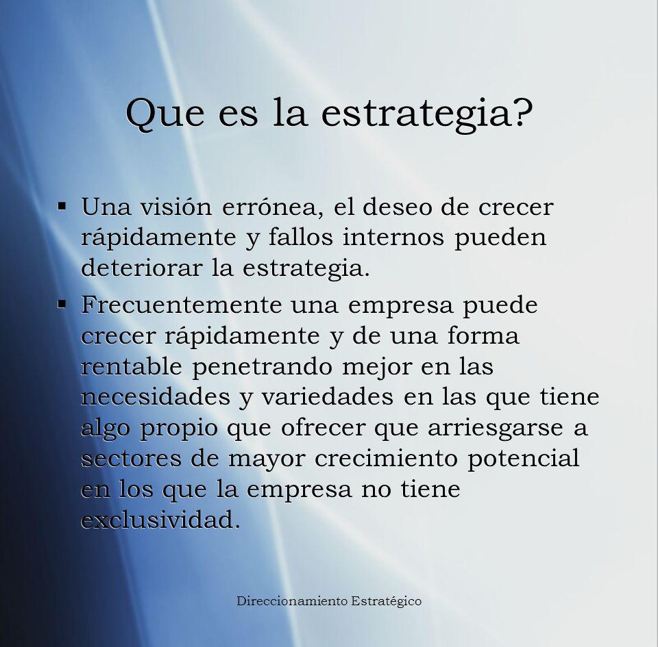 Que es la estrategia? Una visión errónea, el deseo de crecer rápidamente y fallos internos pueden deteriorar la estrategia. Frecuentemente una empresa