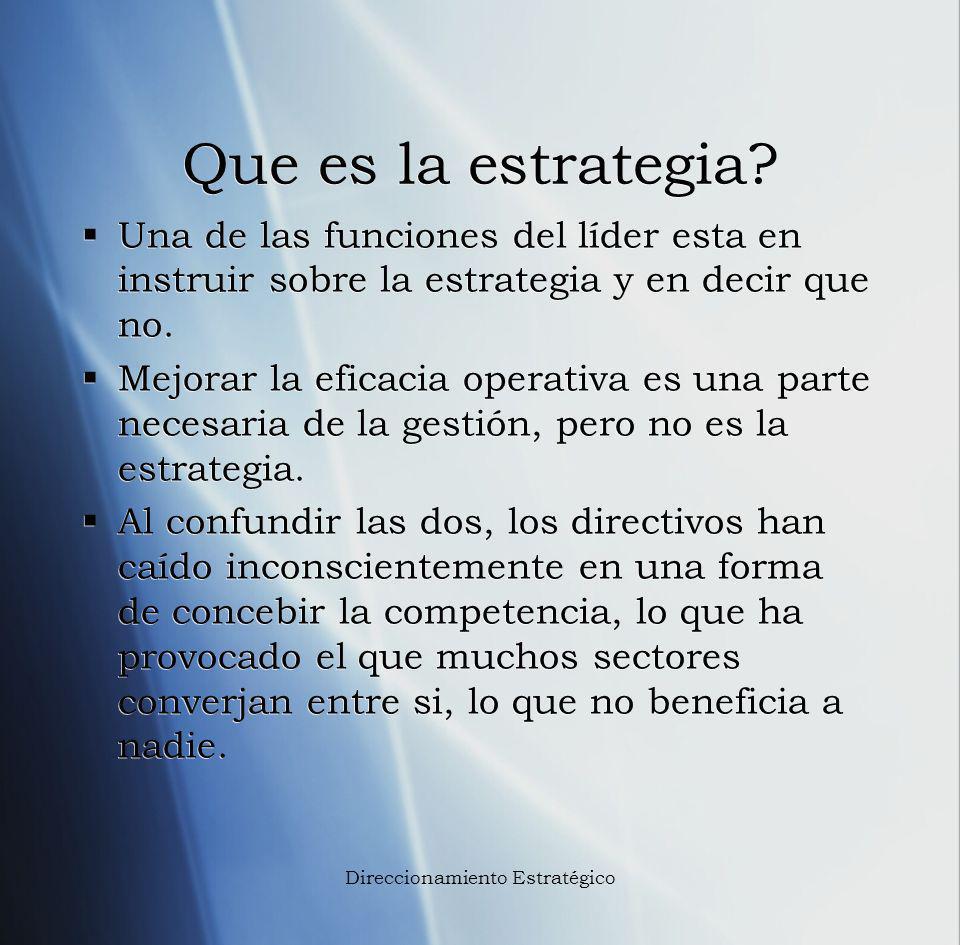 Que es la estrategia? Una de las funciones del líder esta en instruir sobre la estrategia y en decir que no. Mejorar la eficacia operativa es una part