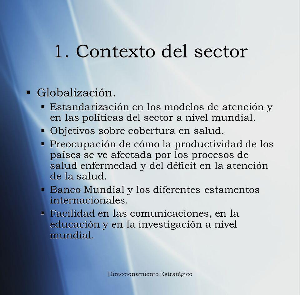 1. Contexto del sector Globalización. Estandarización en los modelos de atención y en las políticas del sector a nivel mundial. Objetivos sobre cobert