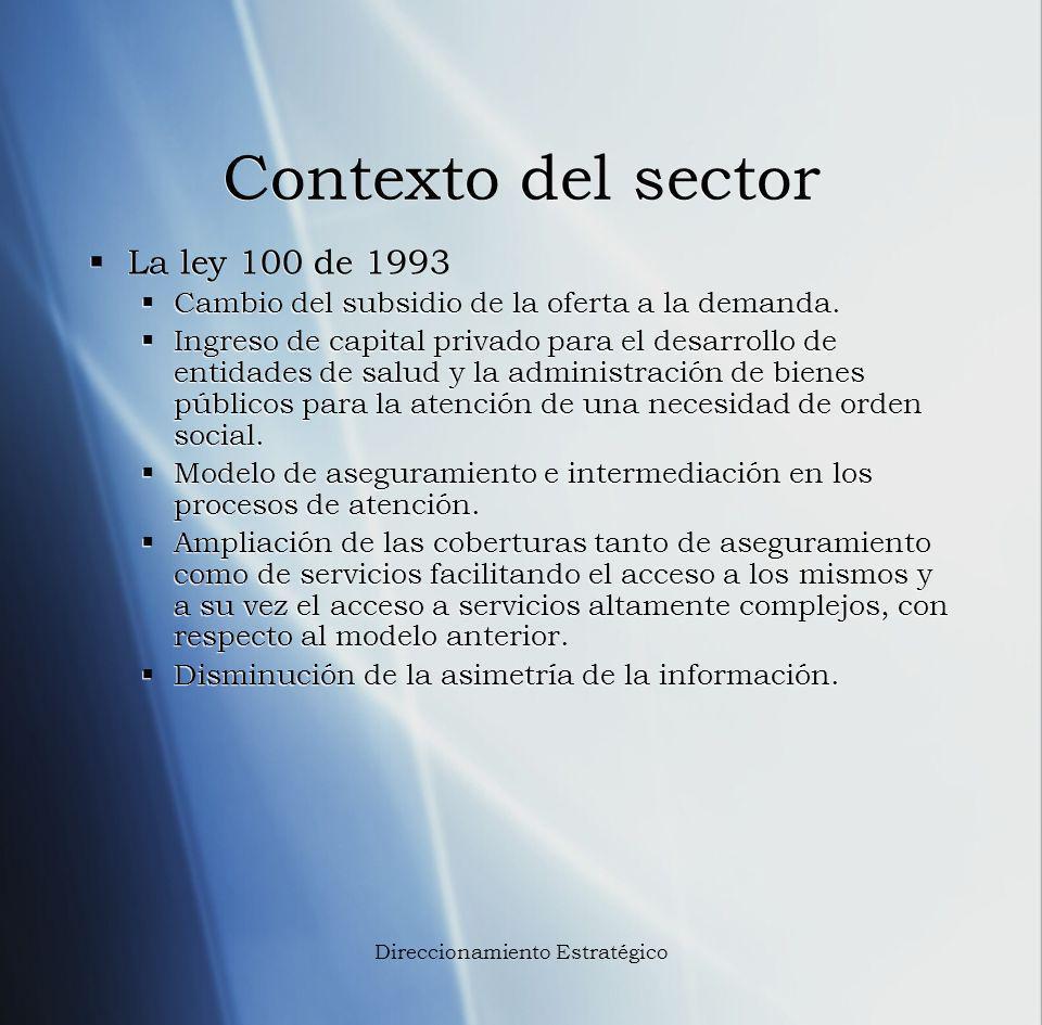 Contexto del sector La ley 100 de 1993 Cambio del subsidio de la oferta a la demanda. Ingreso de capital privado para el desarrollo de entidades de sa