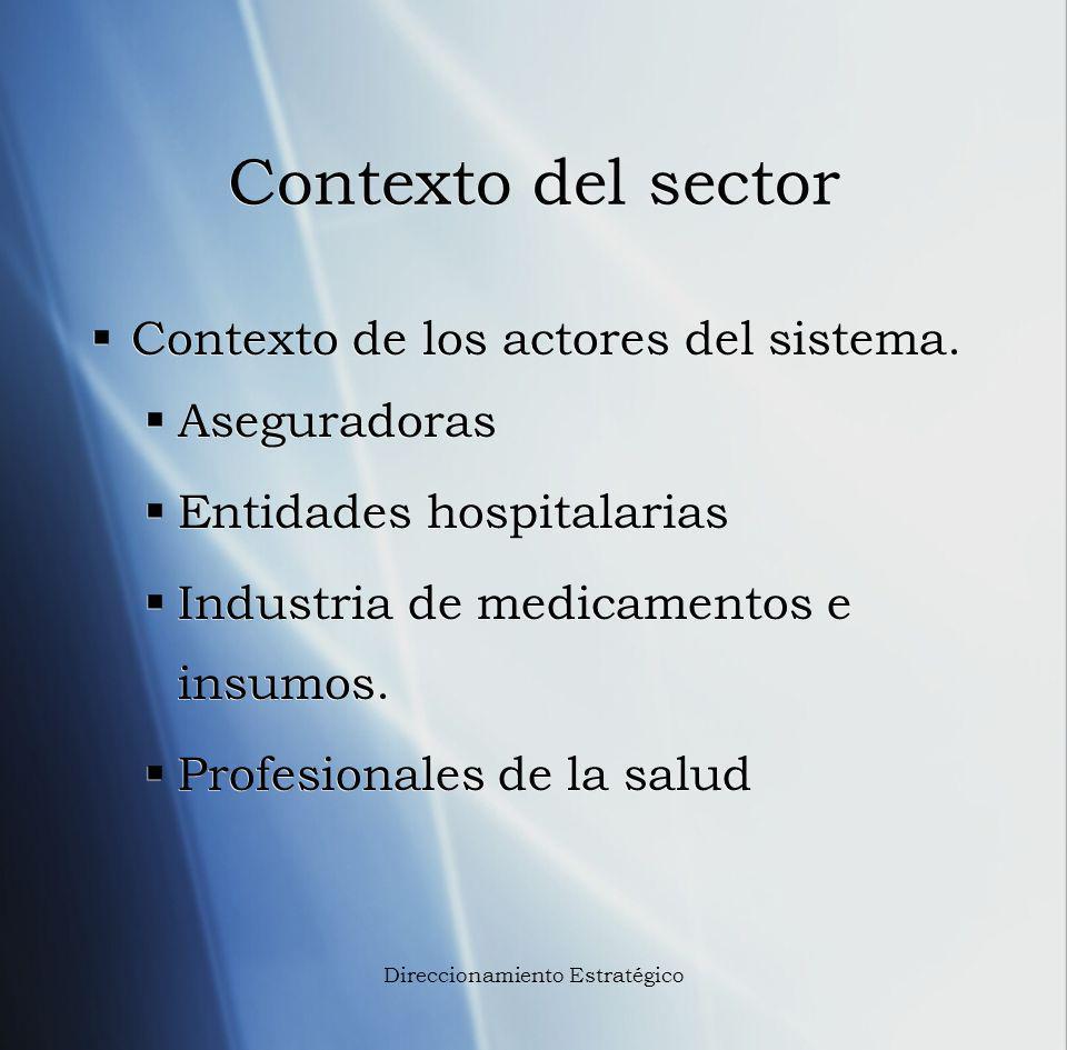 Contexto del sector Contexto de los actores del sistema. Aseguradoras Entidades hospitalarias Industria de medicamentos e insumos. Profesionales de la