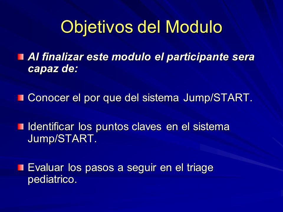 Objetivos del Modulo Al finalizar este modulo el participante sera capaz de: Conocer el por que del sistema Jump/START. Identificar los puntos claves